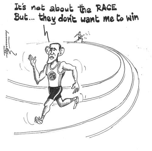 Cartoon: Its not about the RACE (medium) by Thommy tagged race,obama,politics