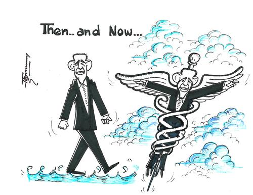 Cartoon: Obama   Now and then (medium) by Thommy tagged obama,healthcare,reform,usa
