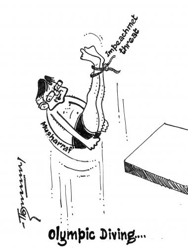 Cartoon: Olympic Diving in Progress (medium) by Thommy tagged olympics,diving,mussharaf