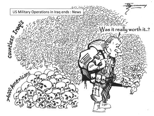 Cartoon: The exit from Iraq (medium) by Thommy tagged iraq,the,exit