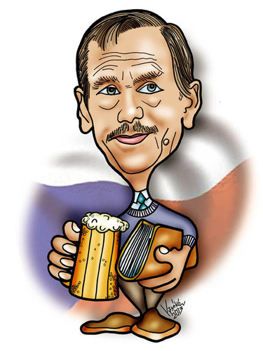 Cartoon: Vaclav Havel (medium) by Krzyskow tagged karykatura
