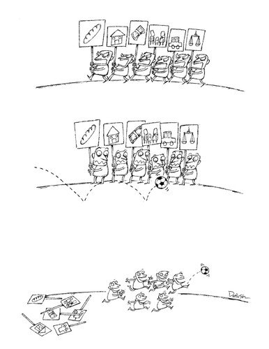 Cartoon: Demonstration02 (medium) by dariush ramezani tagged football,demonstration,cartoon,comic,strip
