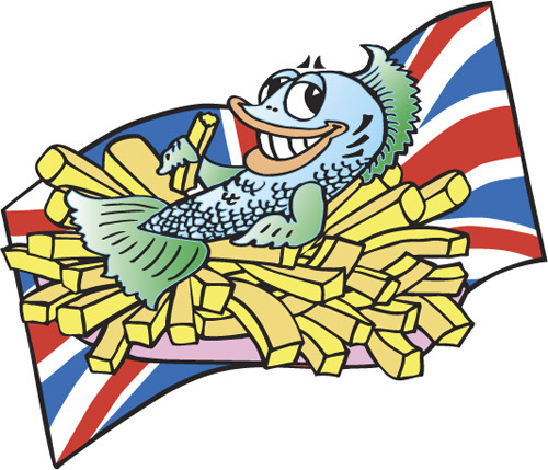 cartoon fish. Cartoon: Fish and chips