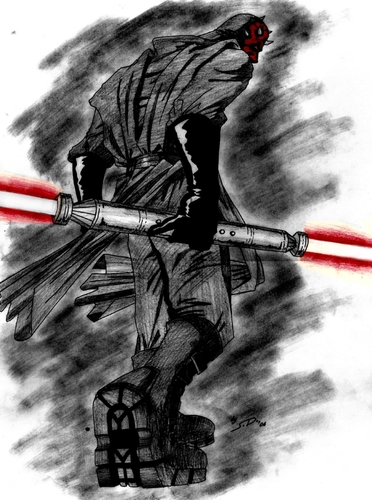Cartoon: MAUL (medium) by sahin tagged maul,darth,aka,badass,star,wars,sith,lord,sci,fic,lightsaber,double