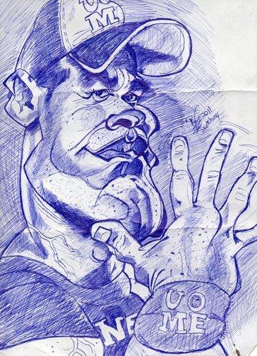 John Cena On Sketch By Roycaricaturas Famous People Cartoon Toonpool