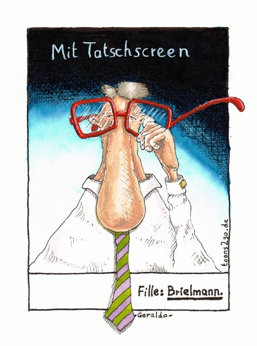 Cartoon: Mit Tatschscreen (medium) by Geraldo tagged brille,fielmann,touchscreen,tatschscreen,nase