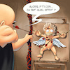 Cartoon: Cupidon - Target (small) by Mikl tagged mikl michael olivier miklart art illustration painting cupidon angel target bow torture