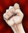 Cartoon: Raised fist (small) by Mikl tagged mikl,michael,olivier,miklart,art,illustration,painting,fist,fight,raised