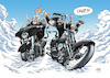 Cartoon: Teebo and Coyote in Heaven (small) by Mikl tagged michael mikl olivier miklart illustration bikes biker heaven paradise beard coyote teebo play game harley davidson streetglide softail