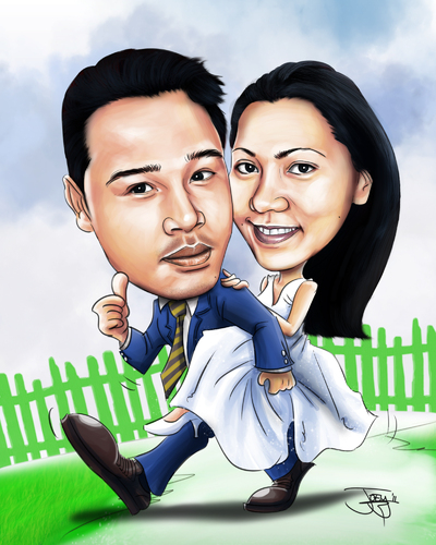 Cartoon: couple caricature (medium) by juwecurfew tagged caricature,couple,in,wedding,dress