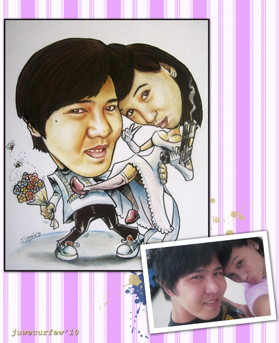 Cartoon: couple caricature 3 (medium) by juwecurfew tagged couple,caricature