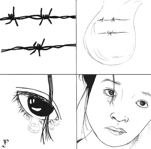 Cartoon: Crying at the border (medium) by paolo lombardi tagged refugees