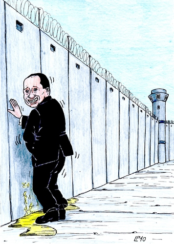 Cartoon: He do not want to see (medium) by paolo lombardi tagged italy,berlusconi,palestine,gaza,israel