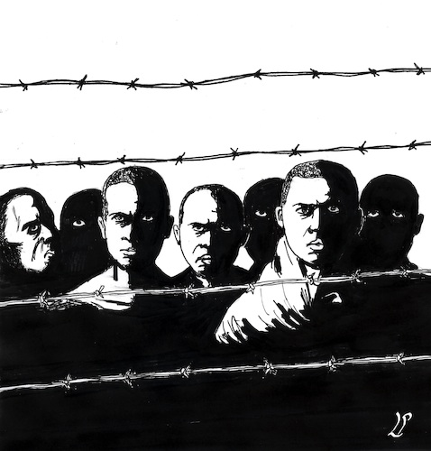Cartoon: Immigrant detention center (medium) by paolo lombardi tagged libya,refugees