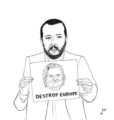 Cartoon: Salvini with Bannon (medium) by paolo lombardi tagged italy,europe