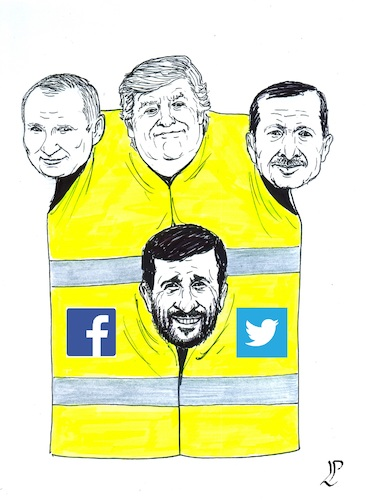 Cartoon: Yellow gilets supporters (medium) by paolo lombardi tagged france