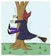 Cartoon: The tree and the witch (small) by AndreJ tagged halloween,tree,witch,baum,hexe