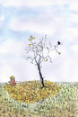 Cartoon: Who did this? (small) by fussel tagged herbst,blätter,baum,vogel,fall,autumn,leaves,falling