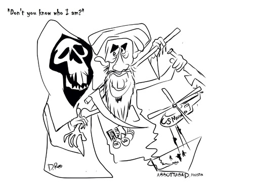 Cartoon: No one can cheat death (medium) by Drao tagged osama,bin,laden,terrorist,terrrism,death,pakistan,usa,marines