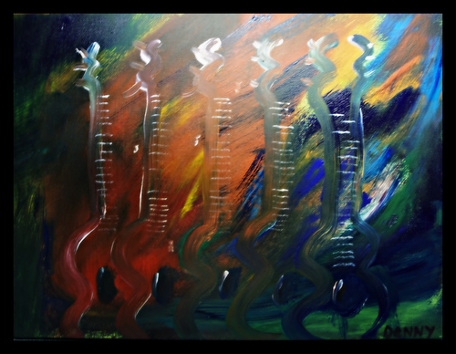 Cartoon: Feeling the Music (medium) by Krinisty tagged music,guitar,instruments,abstract,painting,acrylic,krinisty,art,photography