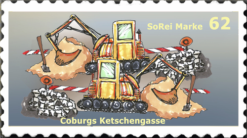 Cartoon: Briefmarke Coburg 6 (medium) by SoRei tagged regional,insider,briefmarke,ketschengasse,coburg