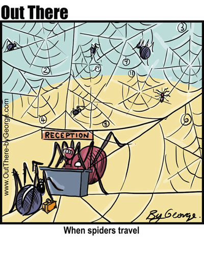 Cartoon: traveller (medium) by George tagged holiday,motel,spider,traveller