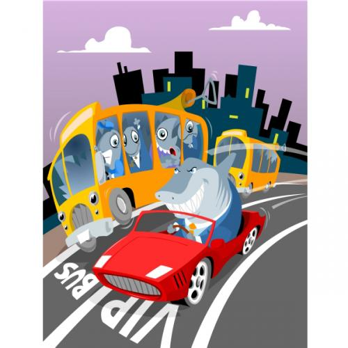 Cartoon: Urban Mobility (medium) by toonman tagged urban,mobility,fish,shark,sardines