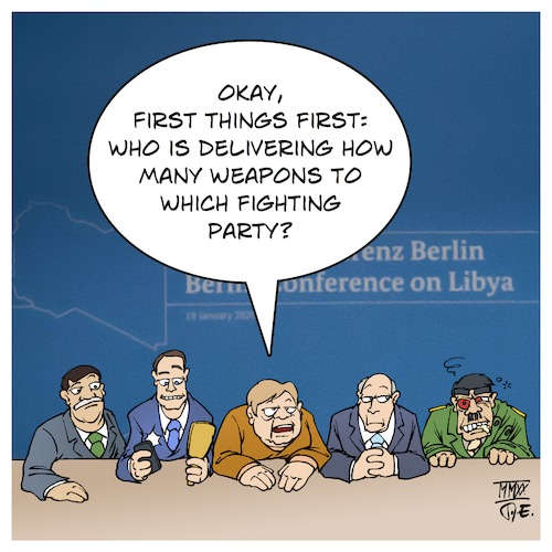 Cartoon: Conference on Libya (medium) by Timo Essner tagged libya,conference,berlin,war,peace,armistice,weapons,embargo,export,soldiers,peacekeeping,missions,uno,germany,france,russia,turkey,middle,east,cartoon,timo,essner,libya,conference,berlin,war,peace,armistice,weapons,embargo,export,soldiers,peacekeeping,missions,uno,germany,france,russia,turkey,middle,east,cartoon,timo,essner