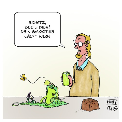 Cartoon: Smoothie (medium) by Timo Essner tagged vegetarier,veganer,smoothie,vegetarier,veganer,smoothie,grün,bunt,blumen,schmetterling