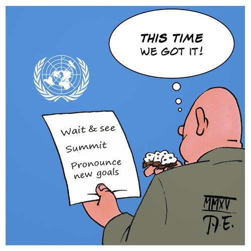Cartoon: UN Millennium Climate Goals (medium) by Timo Essner tagged millennium,uno,un,climate,goal,summit,conference,decleration,economy,global,warming,un,uno,millennium,climate,goal,summit,conference,decleration,economy,global,warming