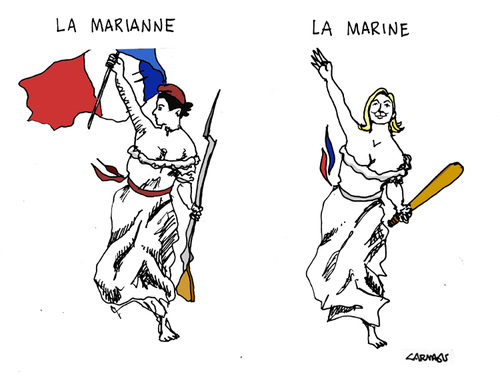 Marianne and Marine Le Pen, cartoon
