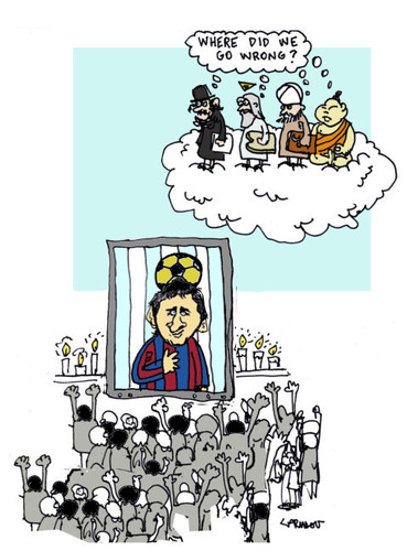 Cartoon: Messi...ah (medium) by Carma tagged futball,god,messi,religion