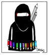 Cartoon: Fighting with pencils (small) by Carma tagged terrorism,charlie,hebdo,cartoon,cartoonist,carma,islam,religion,fight,extremism,conflicts