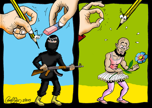 Cartoon: The Power of Cartoons (medium) by carloseco tagged terrorism,security,conflicts,war