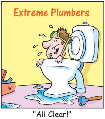 Cartoon: TP0043plumbers (medium) by comicexpress tagged plumber,tradesman,toilet,plumbing,house,repairs,renovations,extreme,sports