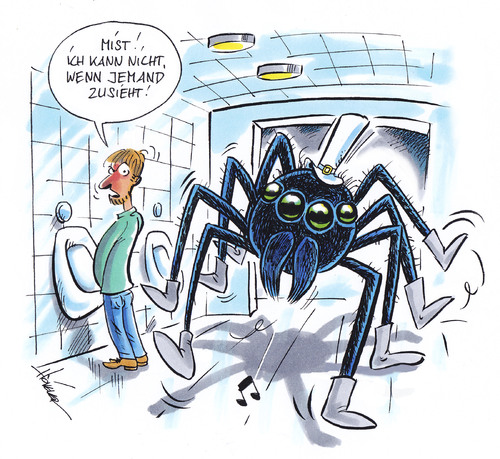 Cartoon: Spinne im Herrenklo (medium) by Hoevelercomics tagged spinne,spider,insekten,wc,restrooms,toilette,bath,bad,bathroom