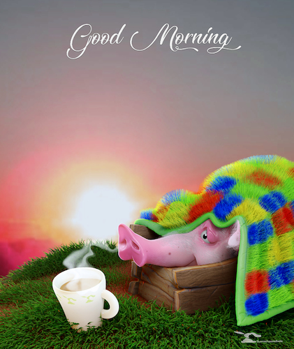 Cartoon: Good Morning (medium) by Rüsselhase tagged pig,coffee,sun,goodmorning,poster