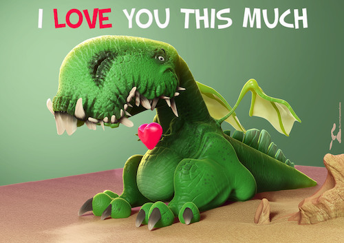 Cartoon: I love you this much (medium) by Rüsselhase tagged dinosaur,heart,sweet