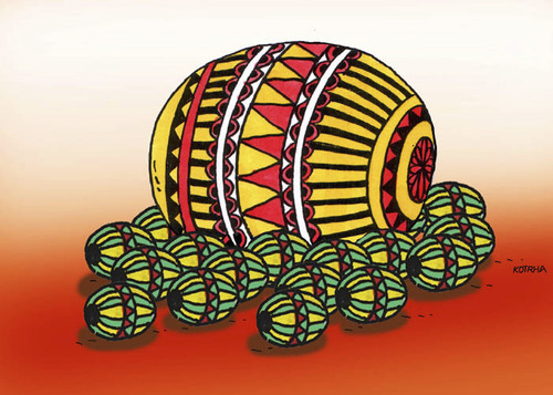 Cartoon: megalo (medium) by Lubomir Kotrha tagged ostern,eggs,kraslice