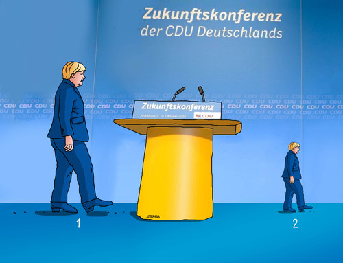 Cartoon: merkonferenz (medium) by Lubomir Kotrha tagged angela,merkel,deutschland,cdu,konferenz,refugees