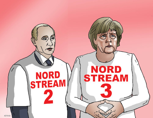 Cartoon: nordstream3 (medium) by kotrha tagged meeting,angela,merkel,vladimir,putin,germany,russia,north,stream,gas,euro,ruble,dollar