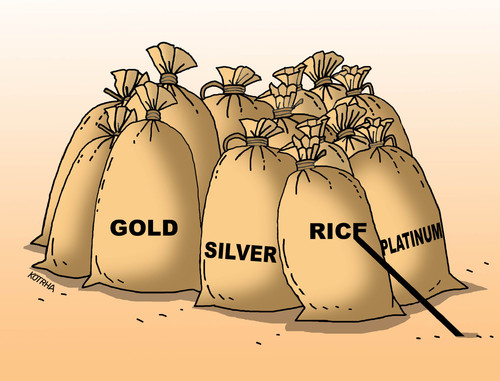 Cartoon: rice (medium) by kotrha tagged china,burza,crash,euro,dollar,world