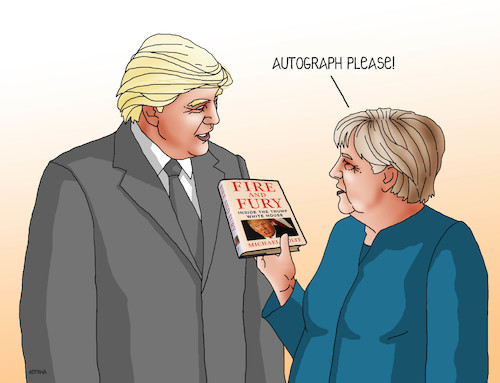 Cartoon: trumpautogram-en (medium) by kotrha tagged donald,trump,fire,and,fury,book,usa,white,house,washington,dollar,world