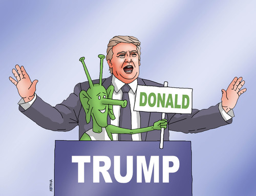 Cartoon: trumpgreen (medium) by kotrha tagged donald,trump,usa,president,election,white,house