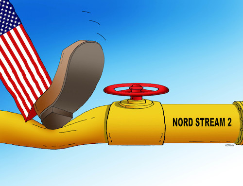 Cartoon: usanordstop (medium) by kotrha tagged gas,nord,stream,putin,trump,russia,usa,germany,sanctions