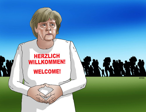 Cartoon: willkommen (medium) by Lubomir Kotrha tagged world,europa,germany,merkel,immigrants