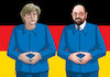 Cartoon: merkelschulz17 (small) by kotrha tagged germany,angela,merkel,martin,schulz,wahlen,elections,euro,dollar,europe,world