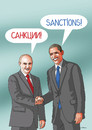 Cartoon: sanctions (small) by kotrha tagged obama,putin,eu,usa,russia,ukraine,war,sanctions