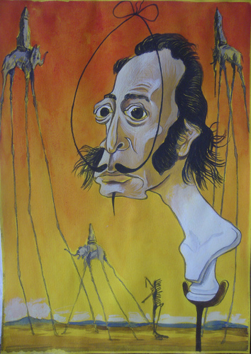 Cartoon: Salvador Dali (medium) by SAPIENS tagged cartoon,drawing,colour