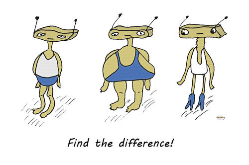 Cartoon: Find the difference (medium) by zeichenstift tagged robots,nonsense,three,funny,difference